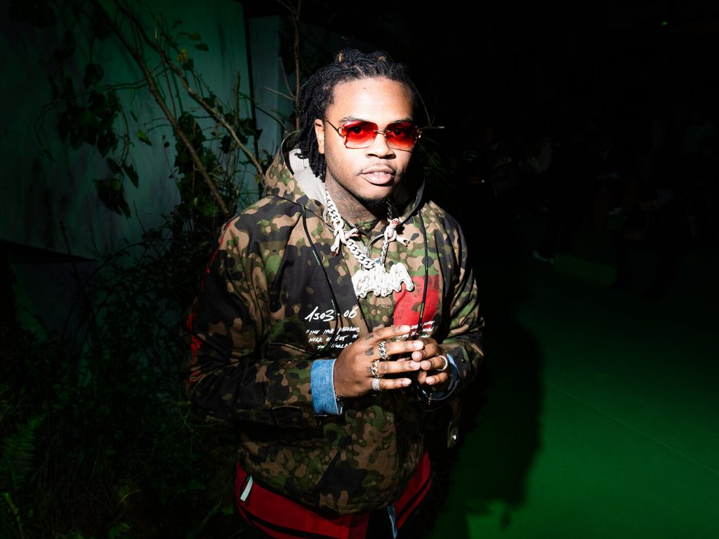 Gunna wearing a snake chain with his name on it